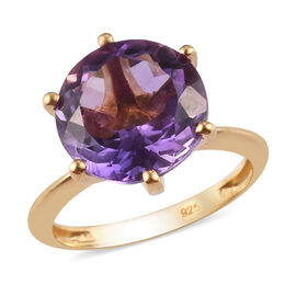 Bolivian Amethyst Solitaire Ring in 14K Gold Overlay Sterling Silver 5.90 Ct.