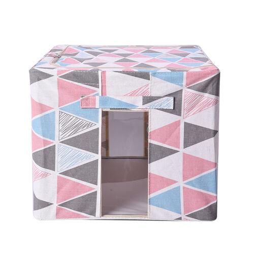 Triangular Pattern Storage Bag Organizer with Handle in White and Multi