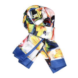 Parrot Pattern HD Digital Print Multi Colour Scarf (Size 100x100 Cm)