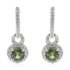 ILIANA 1.45 Ct AAA Russian Demantoid Garnet and Diamond Drop Earrings in 18K Gold 3.81 Grams