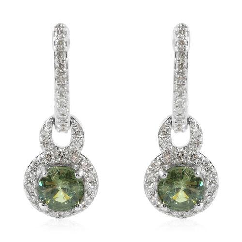 ILIANA 1.45 Ct AAA Russian Demantoid Garnet and Diamond Drop Earrings in 18K Gold 3.81 Grams