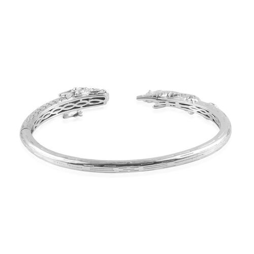 Dragon and Tiger Head Cuff Bangle (Size 7.5) in Silver Tone