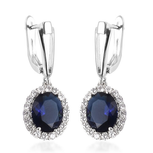 4 Piece Set -  Simulated Blue Sapphire and Simulated Diamond Ring, Necklace (Size 20 with 2 inch Ext.), Barcelet (Size 8 with Extra Clasp) and Earrings (with Clasp) in Silver Tone