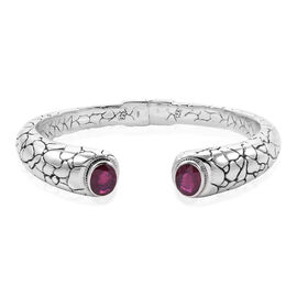 Only 30 Ever Made - Royal Bali Collection African Ruby (Ovl 10x8mm) Bangle (Size 7.75) in 18K Y Gold and Sterling Silver 6.920 Ct., Silver wt 44.31 Gms.