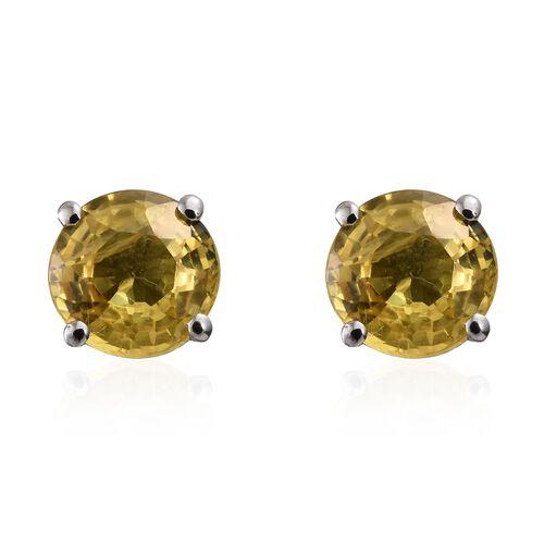 RHAPSODY 950 Platinum 2.20 Ct AAAA Chanthaburi Yellow Sapphire Solitaire Stud Earrings (with Screw Back)