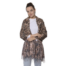 Close Out Deal- Reversible Black Leopard and Blue Snake Pattern Shawl with Tassels (Size 180x70+8cm)