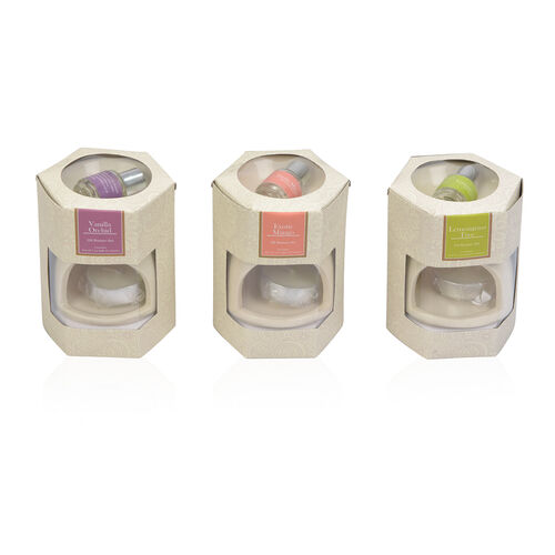 Set of 3 - Home Decor Aroma Lamp Set With 5 Ml Oil (Lemongrass Tree, Exotic Mango And Vanilla Orchid