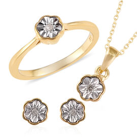 Diamond 14K Gold Overlay 14K Gold Overlay Sterling Silver 3 Pcs Ring, Earring and Pendant With Chain Set  0.050  Ct.