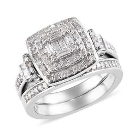 Set of 2 - Diamond (Rnd and Bgt) Cluster Stacker Ring in Platinum Overlay Sterling Silver 0.75 Ct, S