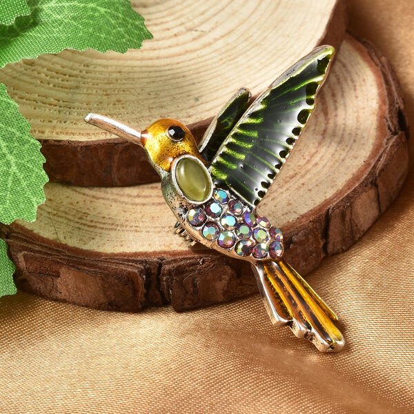 Simulated Green Cats Eye, Black Austrian Crystal and Purple Magic Colour Austrian Crystal Enamelled Hummingbird Brooch in Silver Tone