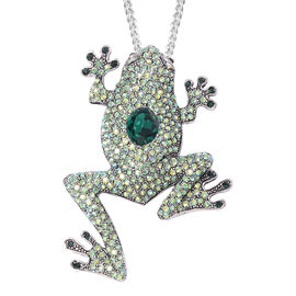 Simulated Emerald (Ovl), Austrian Multicolour Crystal Frog Brooch or Pendant With Chain (Size 24) in