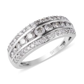 9K White Gold SGL Certified Diamond (I3/G-H) Band Ring 1.00 Ct.