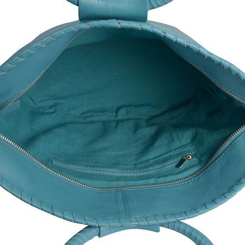 Designer Inspired - 100% Genuine Leather RFID Blocker Sea Blue Colour Handbag (Size 35X25X15 Cm)