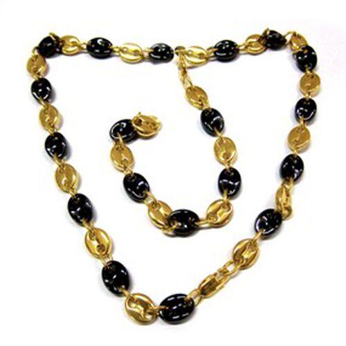 Ceramic Bracelet (Size 8) and Necklace (Size 20) Set in Gold Tone