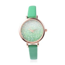 GENOA Japanese Movement Water Resistant Watch with AB Swarovski Crystals in Rose Gold Tone with Gree