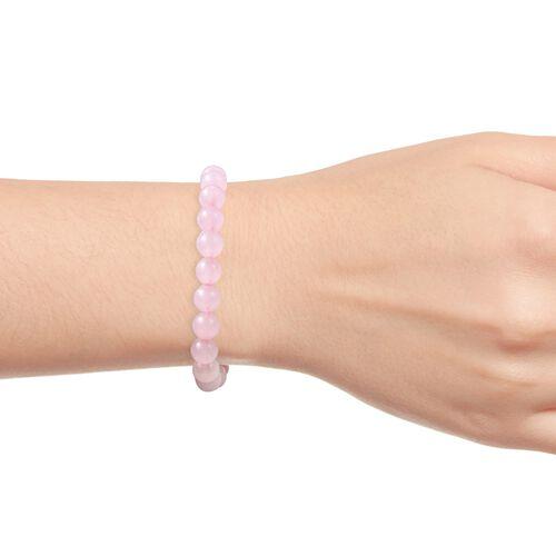 Rose Quartz Beads Stretchable Bracelet (Size 7) 90.50 Ct.