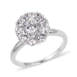 Close Out- Designer Inspired Simulated White Diamond (Rnd) Rotatable Cluster Ring in Silver Plated