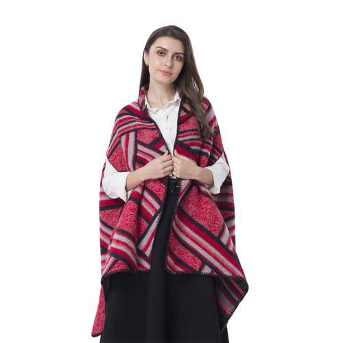 Red Colour Artistic Stripe Pattern Blanket Kimono (Size 180x65 Cm)