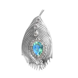2.63 Ct Peacock Quartz and Zircon Peacock Feather Brooch in Platinum Plated Sterling Silver