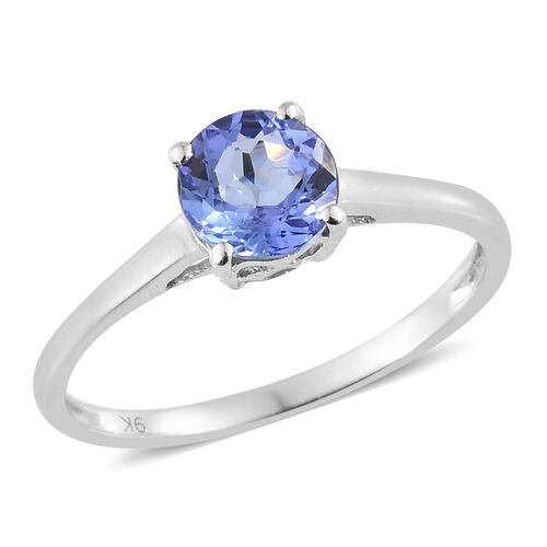 9K White Gold AA Tanzanite (Rnd) Solitaire Ring 0.750 Ct.