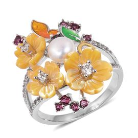 JARDIN COLLECTION - Yellow Mother of Pearl, Freshwater White Pearl, Rhodolite Garnet and Multi Gemstone Floral Enameled Ring in Rhodium and Gold Overlay Sterling Silver, Silver wt 5.45 Gms