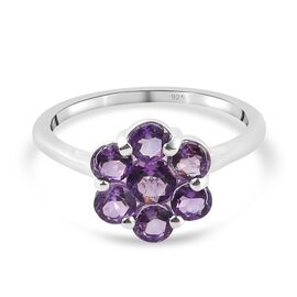 Bolivian Amethyst Floral Cluster Ring in Sterling Silver 1.25 Ct.