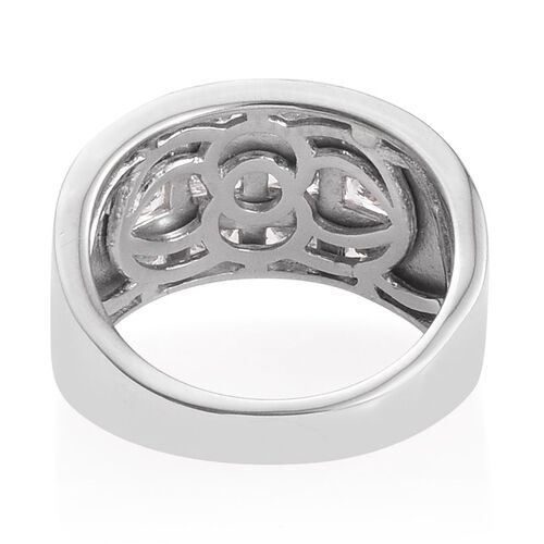J Francis - Platinum Overlay Sterling Silver (Bgt) Ring Made with SWAROVSKI ZIRCONIA. Silver wt. 5.78 Gms.