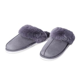 Super Soft Suede Home Booties with Faux Fur Grey Colour