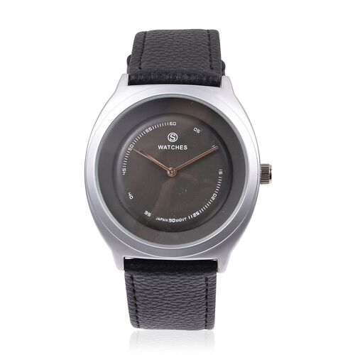 STRADA Japanese Movement Silver Grey Colour Plated Water Resistant Watch with Ash Black Colour Liter