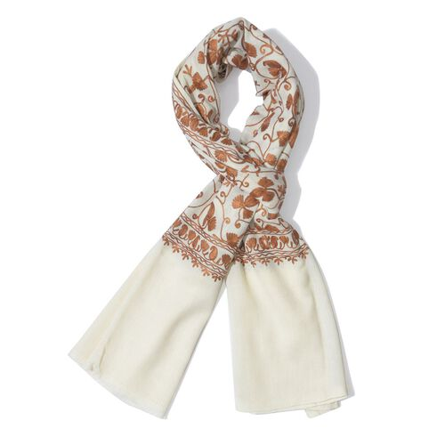 100% Merino Wool Cream Colour Embroidered Scarf (Size 200x70 Cm)