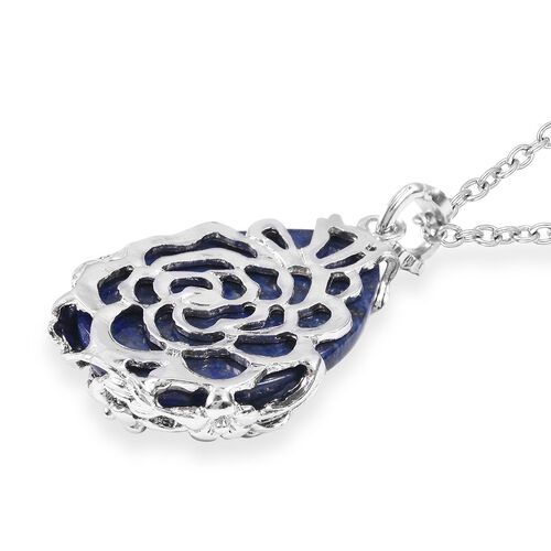 Lapis Lazuli (Pear 35x25 mm) Pendant With Chain (Size 24) in Stainless Steel 50.00 Ct.