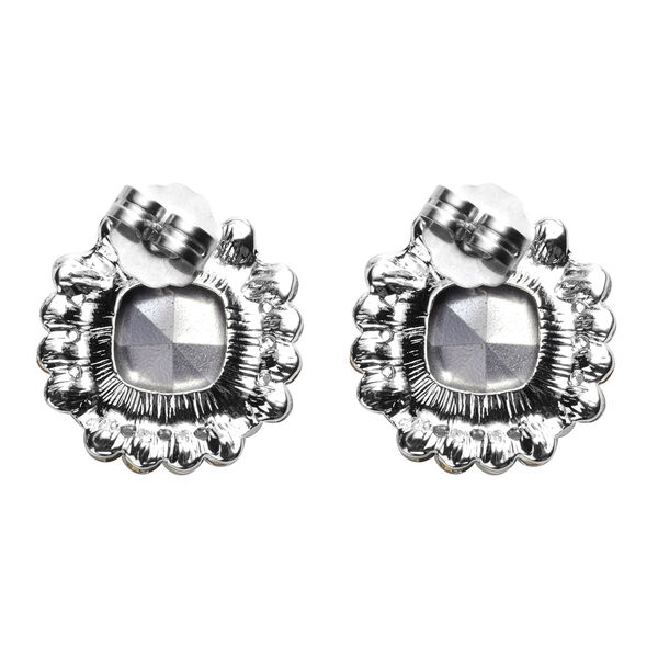 2 Piece Set - Simulated Aquamarine, Simulated Diamond and White Austrian Crystal Stud Earrings and Adjustable Necklace (Size 18-22) in Silver Tone