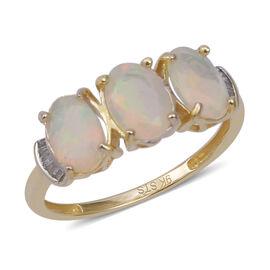 One Time Deal- 9K Yellow Gold AAA Wegeltena Ethiopian Welo Opal (Ovl), Diamond Ring (Size P) 1.560  Ct.