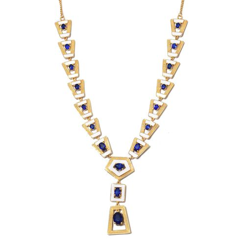 Tanzanian Blue Spinel Enamelled Necklace (Size 18) in 14K Gold Overlay Sterling Silver 5.75 Ct. Silv