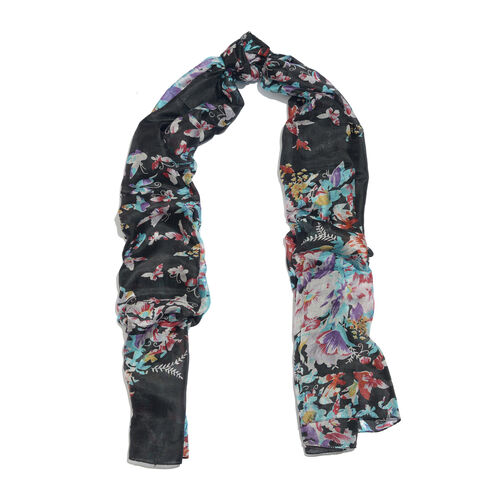 100% Mulberry Silk Black, Light Blue and Multi Colour Butterfly Printed Scarf (Size 180x100 Cm)