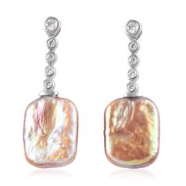 Baroque Pearl and Natural Cambodian Zircon Drop Earrings in Platinum Plated Sterling Silver