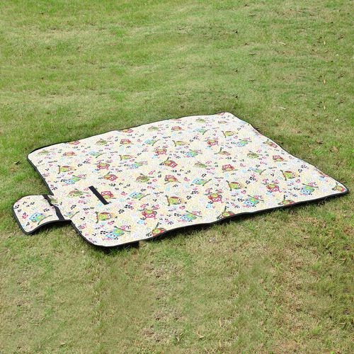 Orange, Cream, Purple and Multi Colour Cotton Rich Picnic Blanket with Printed Tree and Leaf and Waterproof Lining (Size 130x145 cm)