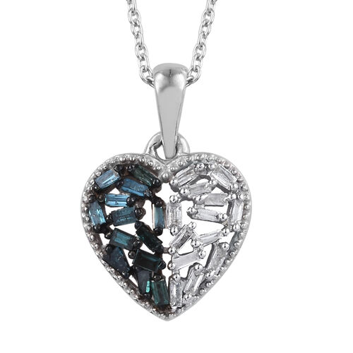 Blue and White Diamond (Rnd and Bgt) Heart Pendant With Chain (Size 20) in Platinum Overlay with Blu