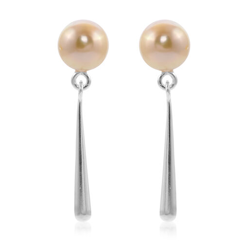 Golden South Sea Pearl Dangle Earrings (with Push Back) in Sterling Silver