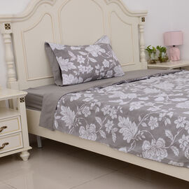3 Pcs Single Set Grey Colour Fitted Sheet, Duvet Cover and 1 Pillow Case