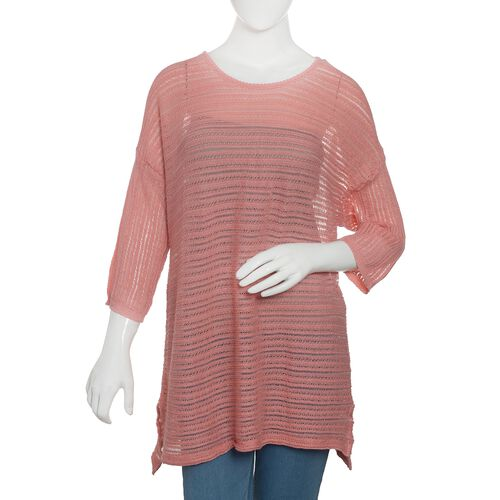 Close Out Deal 47% Cotton Pink Colour Knitted Apparel - L