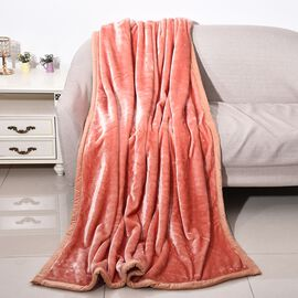 Double Layer Super Soft Blanket with Piping (Size 150x200 Cm)- Peach Colour
