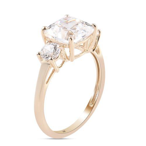 J Francis 9K Yellow Gold Ring Made with SWAROVSKI ZIRCONIA 5.60 Ct.