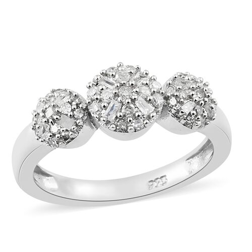 0.33 Ct Diamond Floral Ring in Platinum Plated Sterling Silver