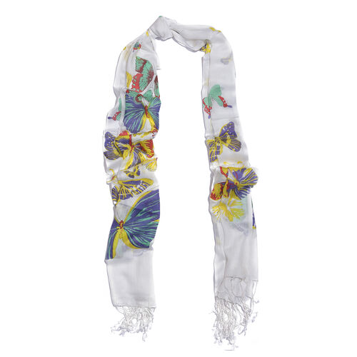 Blue, White and Multi Colour Butterfly Printed Scarf with Tassels (Size 180X70 Cm)