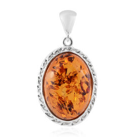 Baltic Amber (Ovl) Pendant in Sterling Silver, Silver wt 7.00 Gms
