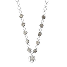 Meteorite Fancy Necklace (Size - 18) in Platinum Overlay Sterling Silver 13.25 ct,  Sliver Wt. 15.11