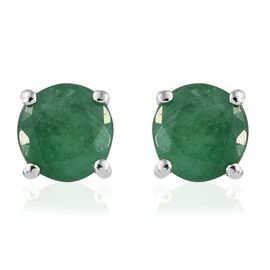 RHAPSODY 1.15 Ct AAAA Zambian Emerald Solitaire Stud Earrings in 950 Platinum 2.09 Grams With Screw