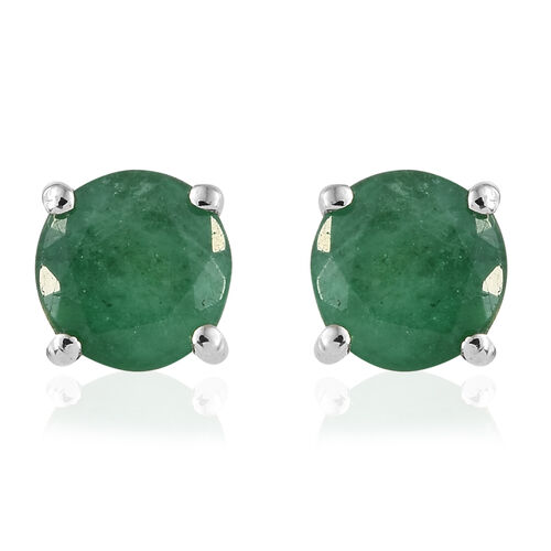 RHAPSODY 1.15 Ct AAAA Zambian Emerald Solitaire Stud Earrings in 950 Platinum 2.09 Grams