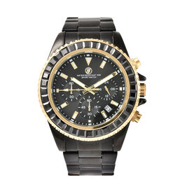 GENOA Simulated Black Spinel Studded 3 ATM Water Resistant Watch in Black Tone